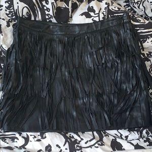 Pleather fringe skirt
